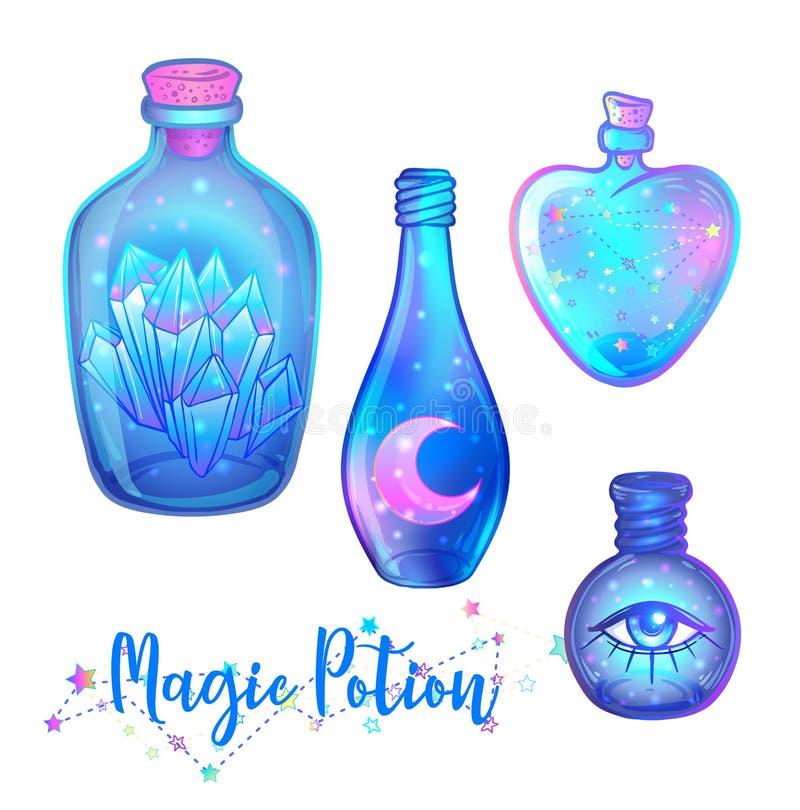 Wondermiddel: de blauwe die flessenkruik met roze maan, kristallen wordt geplaatst, hoort royalty-vrije illustratie