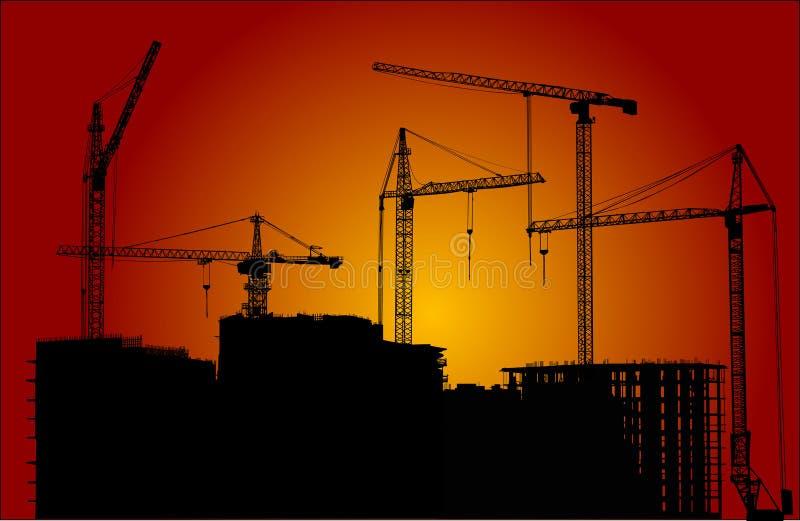 Woningbouw bij avond stock illustratie