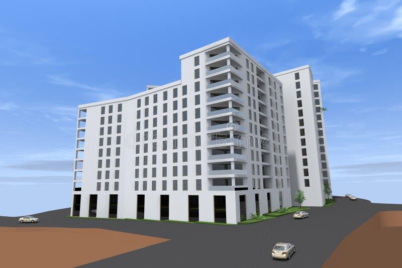 Woningbouw 3D ontwerp stock afbeelding