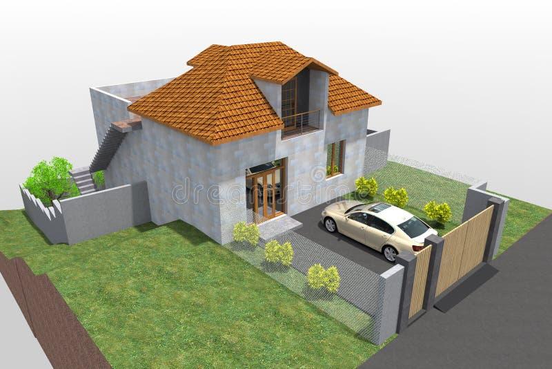 Woningbouw 3D ontwerp stock foto's