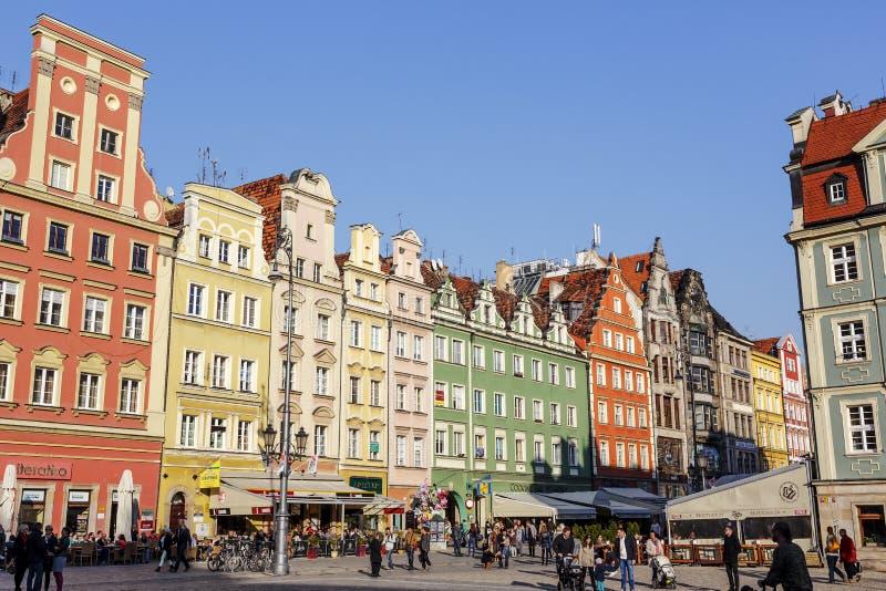 Woningen in oud Marktvierkant, Wroclaw stock afbeelding