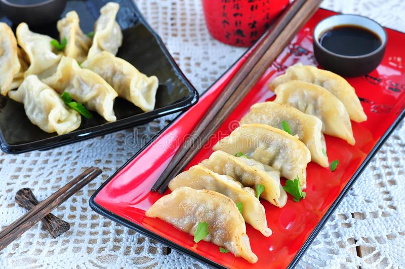 Wonton asiatico fritto con la salsa di soia fotografia stock libera da diritti