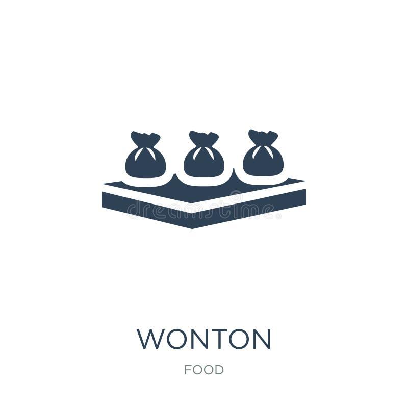 wonton ikona w modnym projekta stylu wonton ikona odizolowywająca na białym tle wonton wektorowej ikony prosty i nowożytny płaski ilustracji