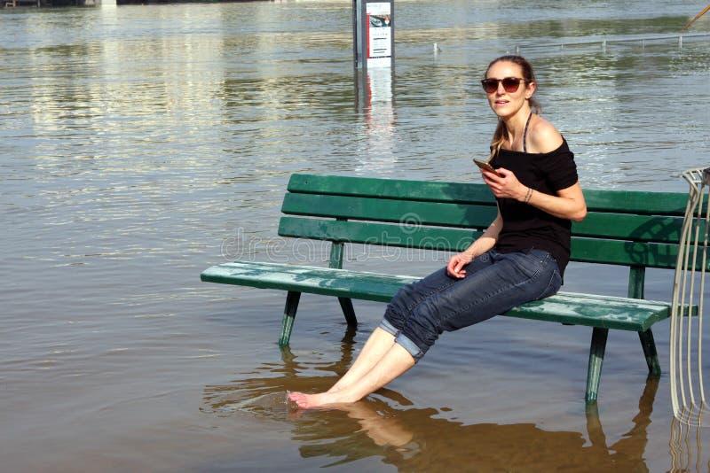 Wonton rzeczna powódź w Paryż obrazy royalty free