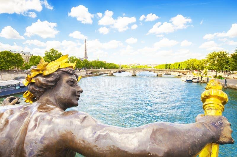 Wonton rzeka i Paryż miasto widok od Bridżowego Aleksander III zdjęcie stock
