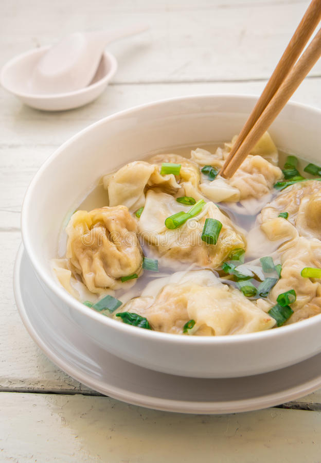 Wonton soup, Chinese food royalty free stock images