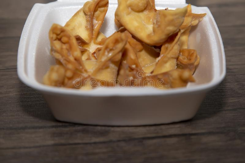 Wontons In A Carryout Box royalty free stock images