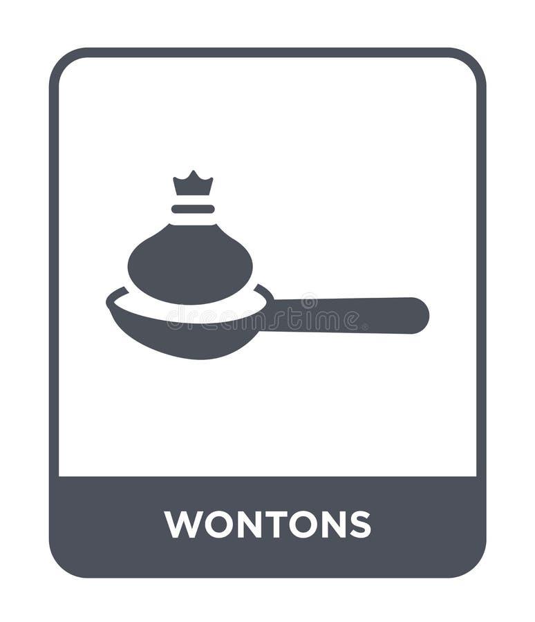 wontons ikona w modnym projekta stylu wontons ikona odizolowywająca na białym tle wontons wektorowej ikony prosty i nowożytny pła ilustracji
