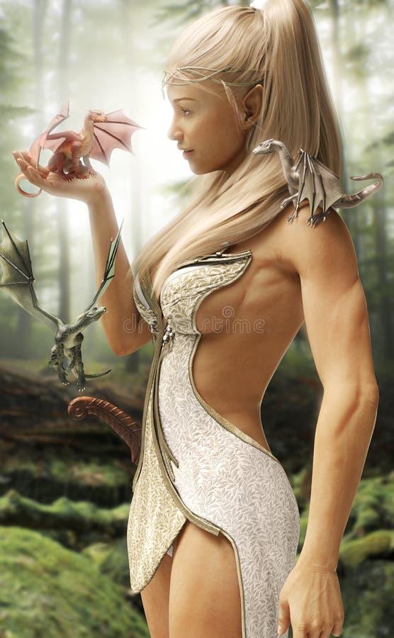Wood älvaprinsessa för fantasi och hennes tre mytiska drakar i en förtrollad skog royaltyfri illustrationer