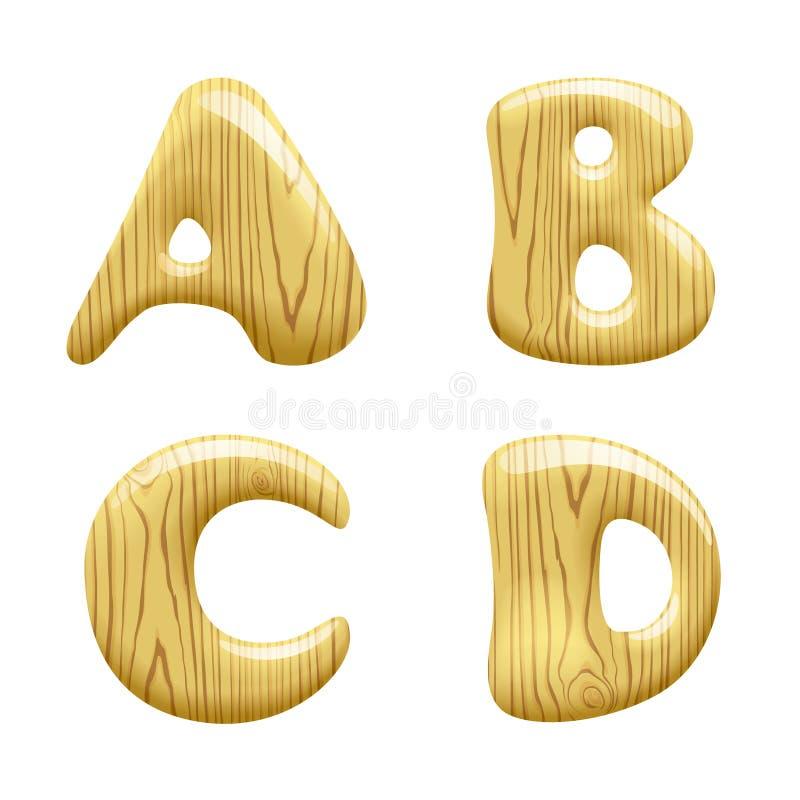 Wood Alphabet Letters stock illustration