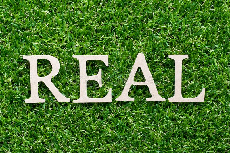 Wood alphabet in word real on green grass background. Wood alphabet in word real on artificial green grass background royalty free stock photos