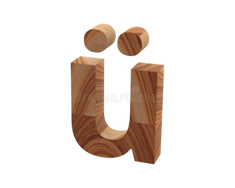 Wood Alt0252 font 3D render stock illustration