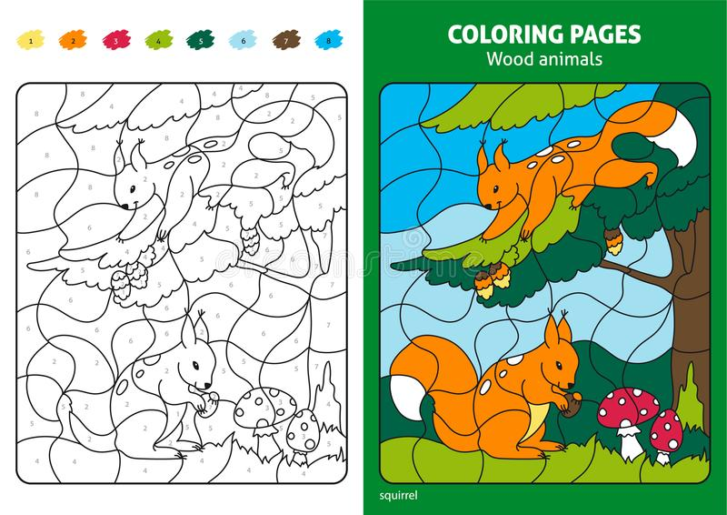 Download Wood Animals Coloring Page For Kids, Squirrels In Forest. Stock  Illustration   Illustration