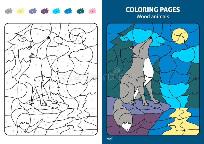 Wood animals coloring page for kids, wolf. vector illustration
