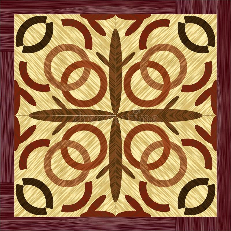 Wood art inlay tile, geometric ornament from dark and light wood in antiquarian style. Vector EPS10 stock illustration