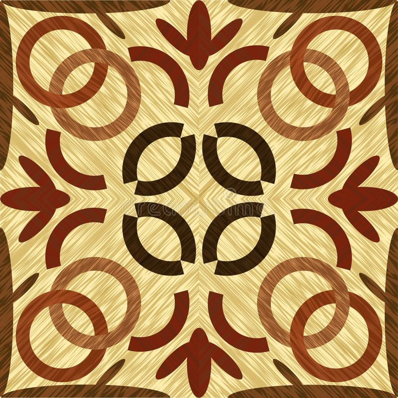 Wood art inlay tile, symmetric patterned geometric ornament from dark and light wood in vintage style. Vector template stock illustration
