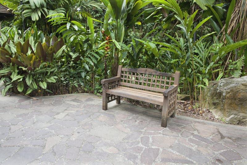 Wood bänk i tropisk trädgård arkivbild