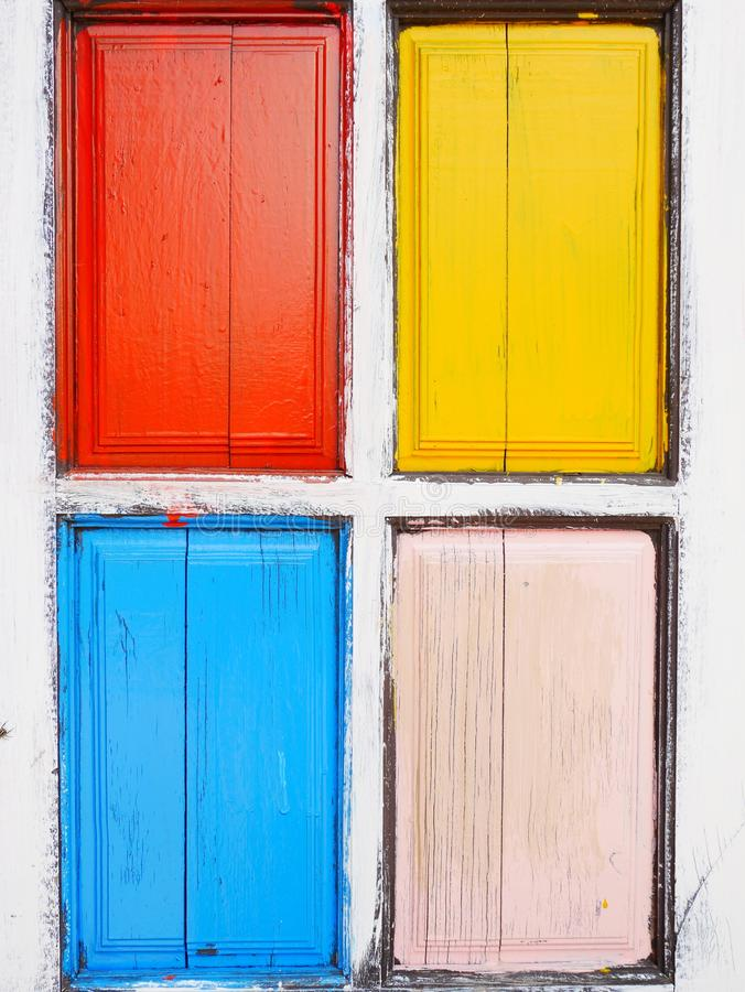 Colorful wooden window, old wood door, stock images