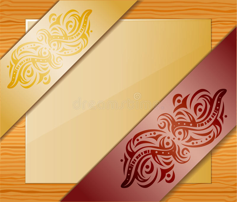Wood background with ribbons and paper. Illustration 10 version royalty free illustration