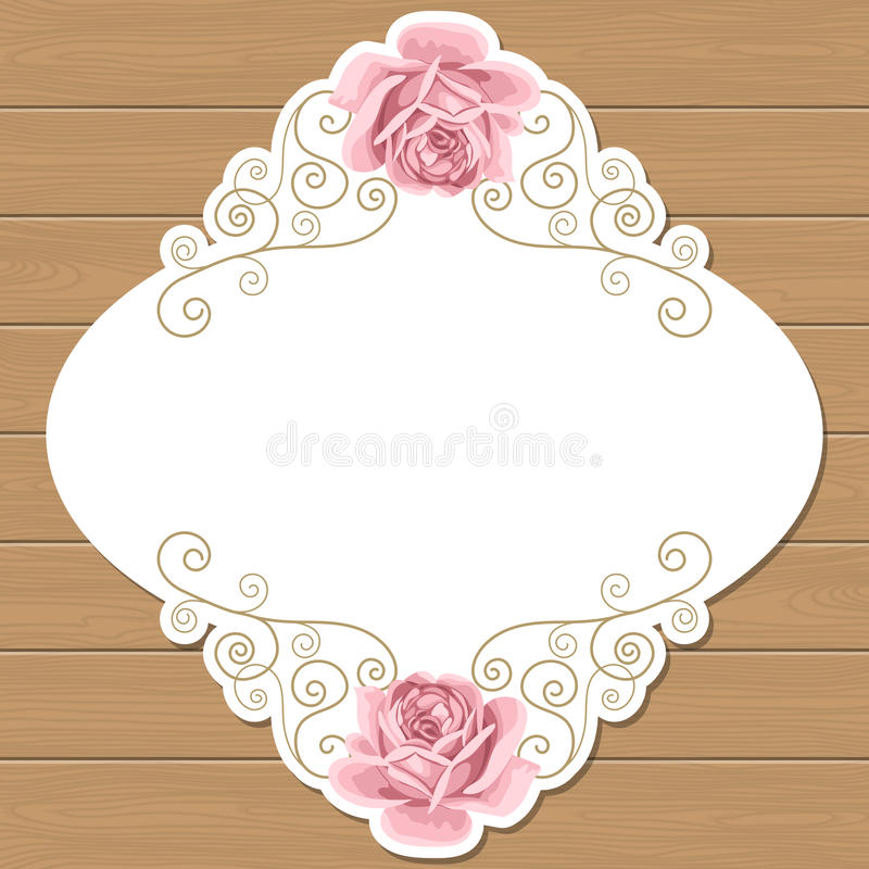 Wood background with roses stock vector. Illustration of flower ...