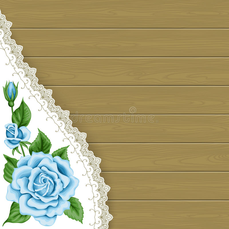Wood background with roses. Wood background with hand drawn colorful roses and lace corner. Place for your text. Greeting card, invitation template royalty free illustration