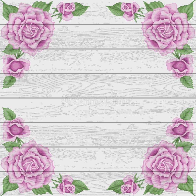 Wood bakgrund för tappning med rosor stock illustrationer