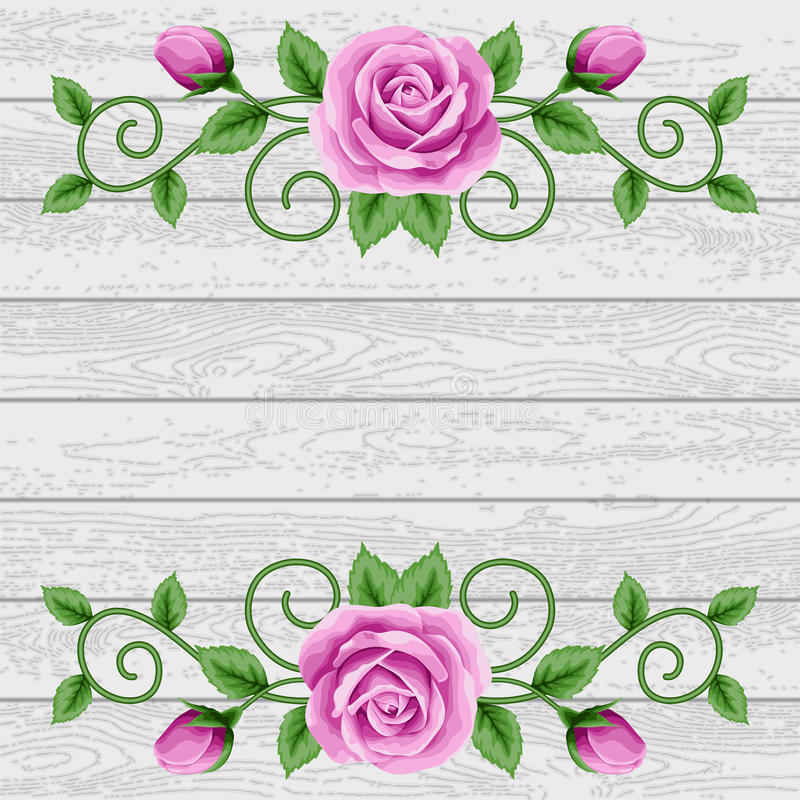 Wood bakgrund med rosor royaltyfri illustrationer