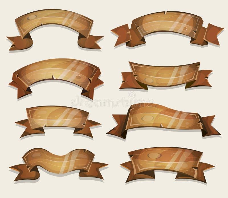 Wood baner och band för tecknad film för den Ui leken stock illustrationer
