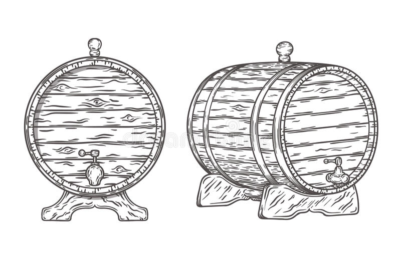Wood Barrel hand drawn. Vector EPS10 illustration vector illustration