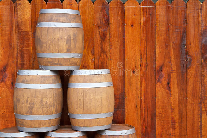 Wood barrel. With steel ring stock photo