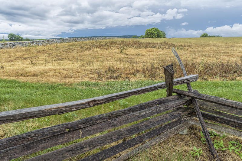 Wood barrier at Antietam site. The landscape in the countryside of the historic Antietam battlefield in Maryland royalty free stock images