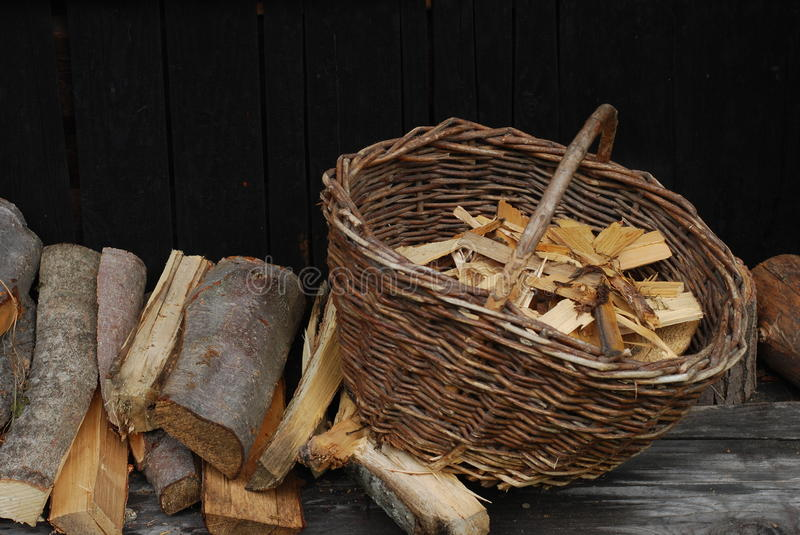 Firewood In Basket Stock Images