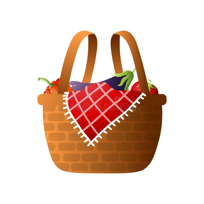 Wood basket with fresh vegetables for bbq or picnic time. With lovely family. Cartoon style. Vector illustration on white background vector illustration