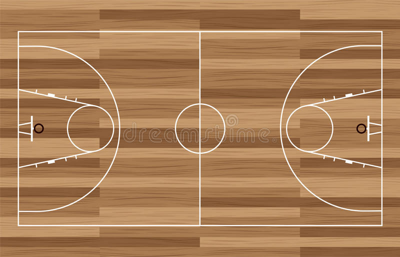 Wood basketball court. Basketball court outline with wooden floor of gymnasium vector illustration