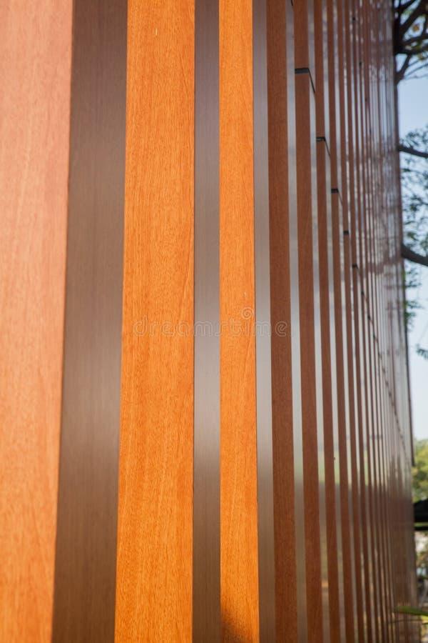 Wood battens of building. Wood battens slat of the modern building stock image