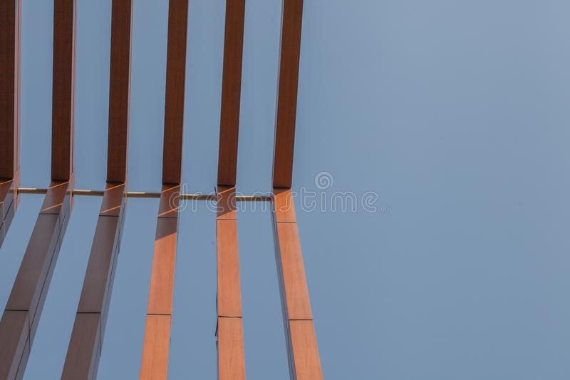 Wood battens slat of the building. Wood battens slat of the modern building royalty free stock photo