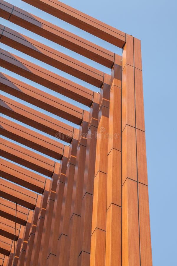 Wood battens slat of the building. Wood battens slat of the modern building stock photo