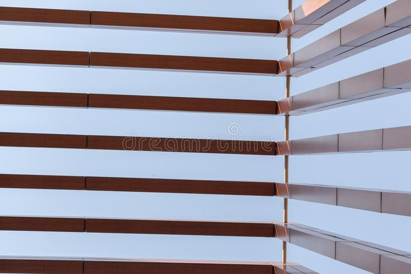 Wood battens slat of the building. Wood battens slat of the modern building stock images