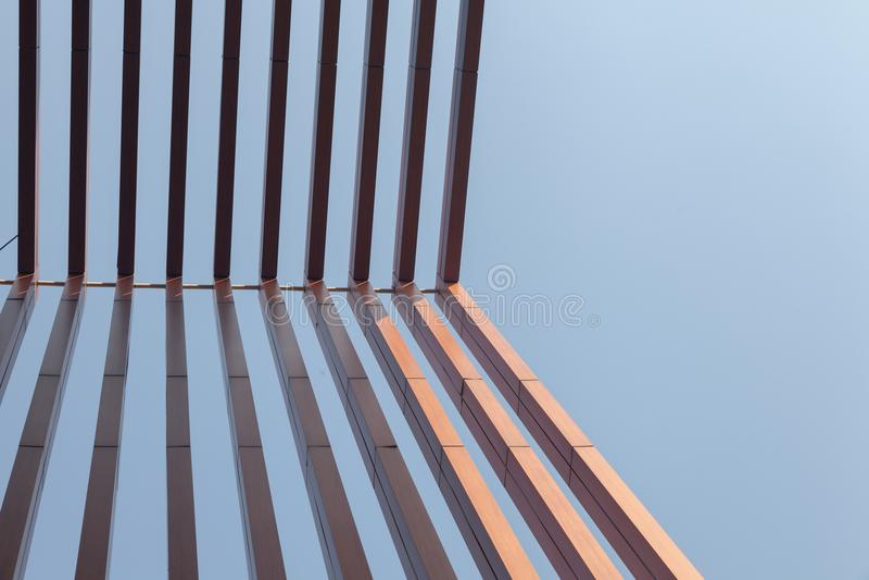Wood battens slat of the building. Wood battens slat of the modern building royalty free stock photography