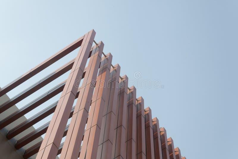 Wood battens slat of the building. Wood battens slat of the modern building royalty free stock image