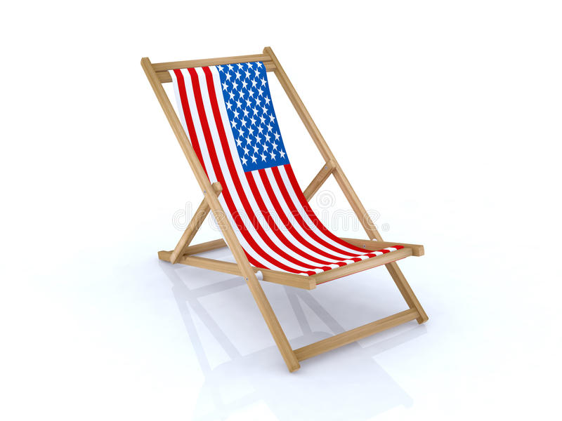 Download Wood Beach Chair With American Flag Stock Illustration - Illustration: 18557370