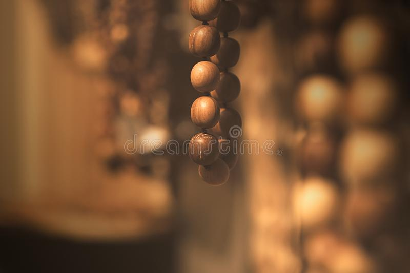 Wood beads - wood grapes stock photo
