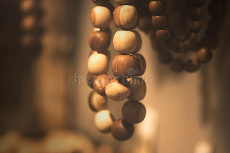Wood beads in macro royalty free stock image