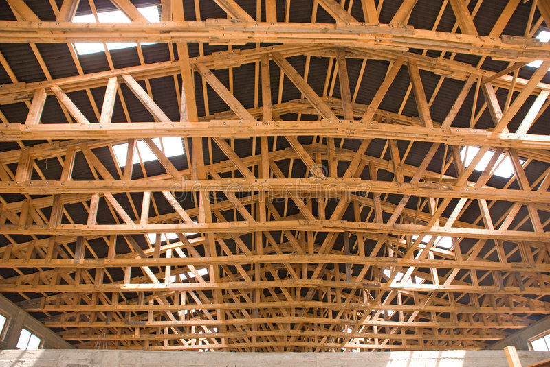 WOOD BEAM AND TRUSS. THE WOOD BEAM AND TRUSS stock image