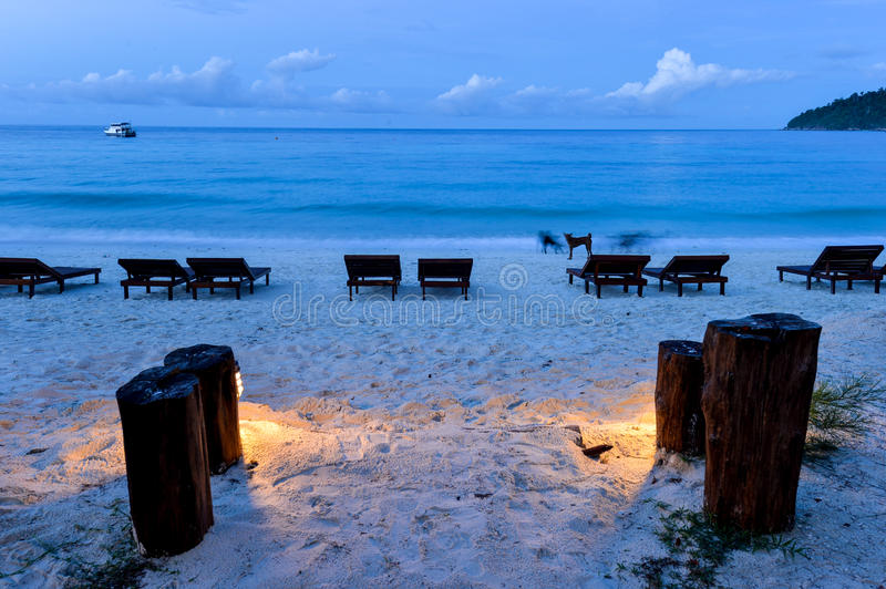 Wood bed on beach in morning. Thailand stock photos