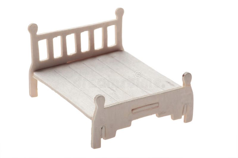 Wood bed toy. Object isolatsd on white background Wood bed toy stock photos