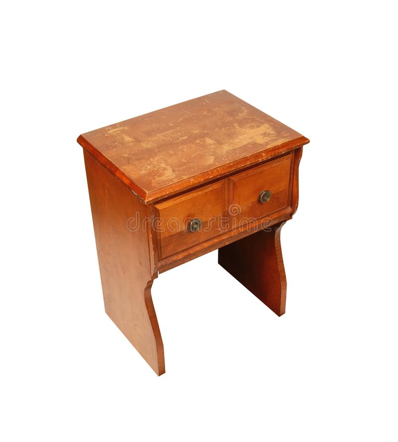 Wood bedside table royalty free stock photo