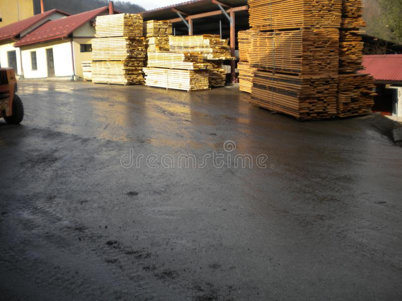 Wooden beech boards. Sawmill in Serbia with huge stock beech boards.Peaceful environment for success.Place for hard work. Work place for real enthusiastic stock photos