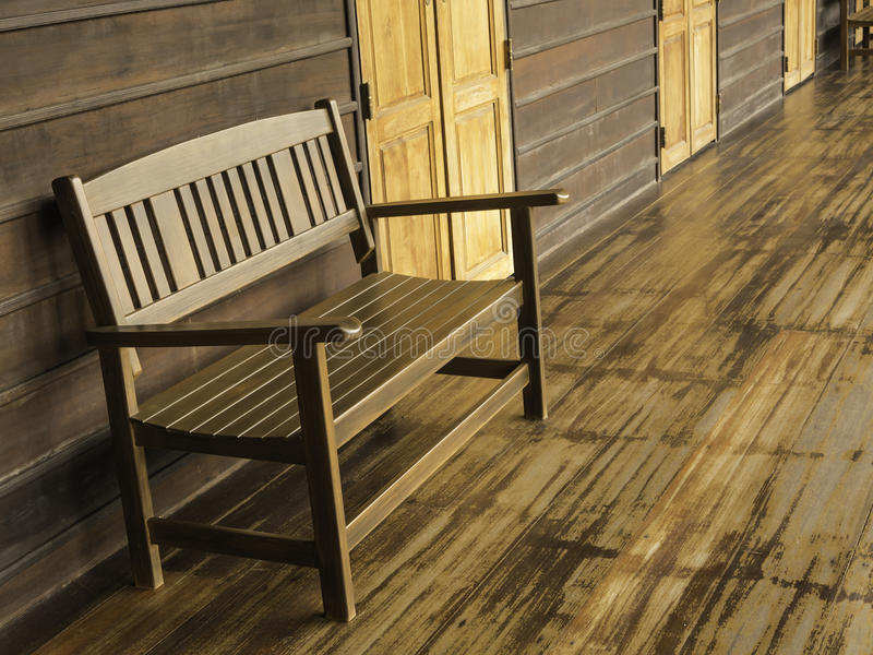 Wood bench. In the old building, Thailand royalty free stock photography