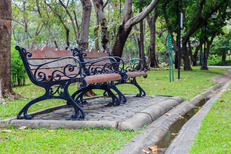 Wood bench. Old wood bench in the green park stock photography